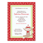 Sock Monkey 5x7 Baby Shower Invitation (Red)