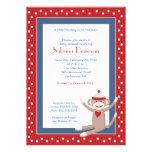 Sock Monkey 5x7 Baby Shower Invitation (Red/Denim)