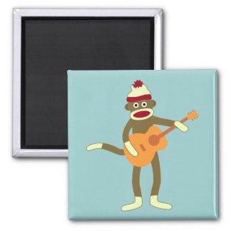Sock Monkey Acoustic Guitar 2 Inch Square Magnet