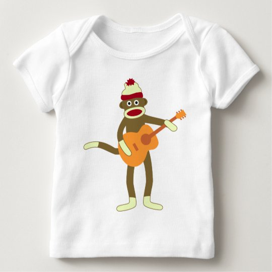Sock Monkey Acoustic Guitar Baby T-Shirt