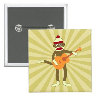 Sock Monkey Acoustic Guitar Button