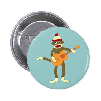 Sock Monkey Acoustic Guitar Button
