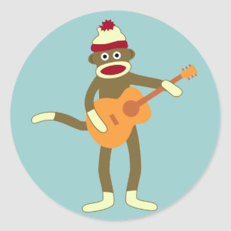 Sock Monkey Acoustic Guitar Classic Round Sticker