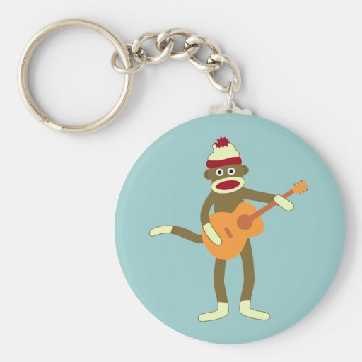 Sock Monkey Acoustic Guitar Basic Round Button Keychain