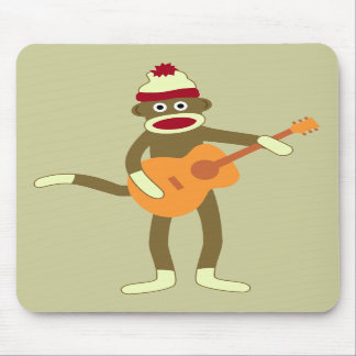 Sock Monkey Acoustic Guitar Mouse Pad