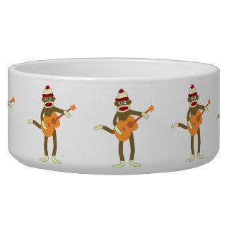 Sock Monkey Acoustic Guitar Dog Water Bowl