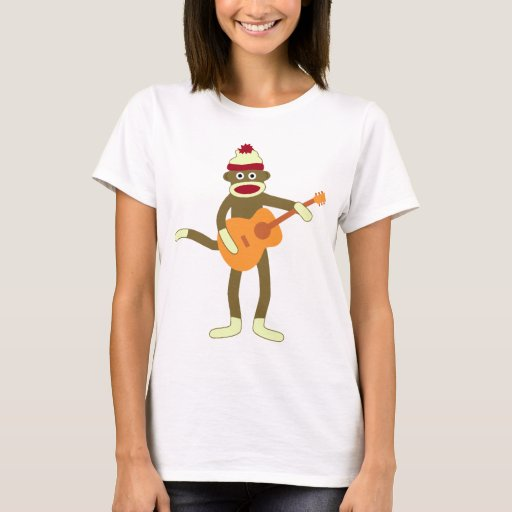 Sock Monkey Playing Acoustic Guitar Basic Cotton T-Shirt