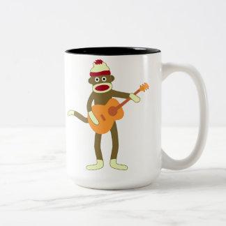 Sock Monkey Acoustic Guitar Two-Tone Coffee Mug