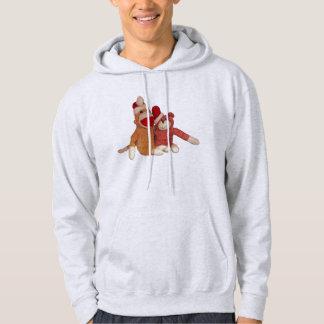 Sock Monkey and Bear Friends Christmas Hats Hoodie