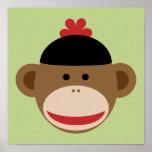 Sock Monkey and Green Plaid Art Poster