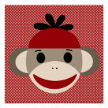 Sock Monkey and Polka Dot Art Poster