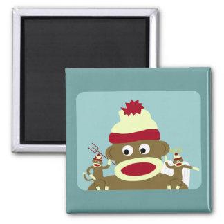 Sock Monkey Angel & Devil 2 Inch Square Magnet