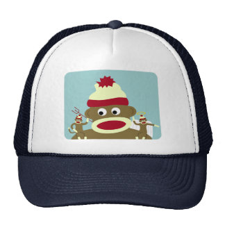 Sock Monkey Angel & Devil Trucker Hat