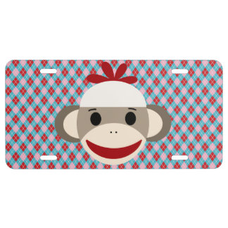Sock Monkey Argyle Aluminum License Plate