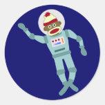 Sock Monkey Astronaut Round Sticker