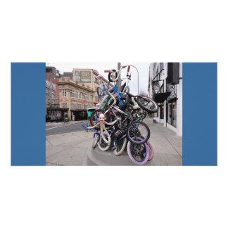 Sock Monkey at Bike Stack Sculpture in Portland OR Card