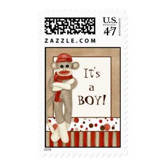 Sock Monkey, Baby Announcement  Postage