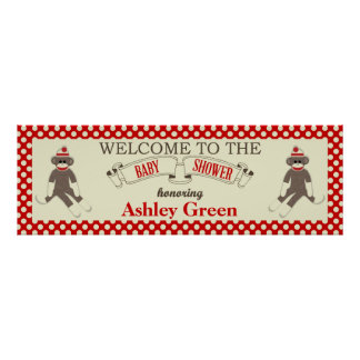 Sock Monkey Baby Shower Banner Personalize Poster
