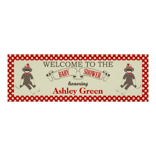 Sock Monkey Baby Shower Banner Personalize Print