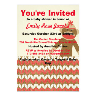 Sock Monkey Baby Shower Card