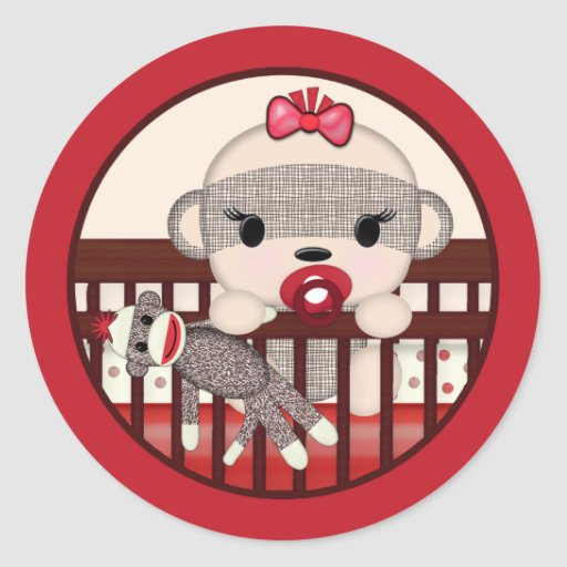 SOCK MONKEY Baby Shower Crib Seal Round GIRL Classic Round Sticker