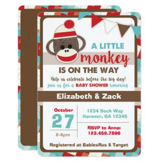 sock monkey baby shower invitation