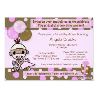 sock monkey baby shower invitation adorable pink