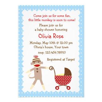 Sock Monkey Baby Shower Invitations