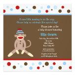 Sock Monkey Baby Shower Invitations Boy