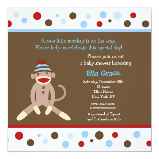 Sock Monkey Baby Shower Invitations Boy