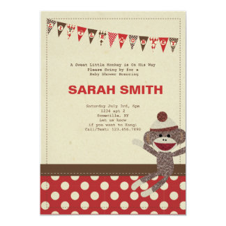 Sock Monkey Baby Shower Invite