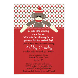 sock monkey baby shower invite customize
