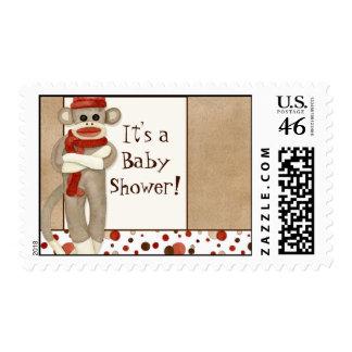 Sock Monkey Baby Shower Postage