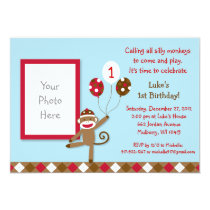 Sock Monkey Balloon Photo Birthday Invitations
