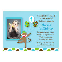 Sock Monkey Balloons Photo Birthday Invitations