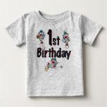 Sock Monkey Baseball 1st Birthday Baby T-Shirt