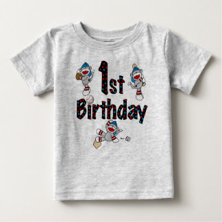 Sock Monkey Baseball 1st Birthday Baby T-Shirt
