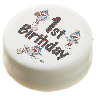 Sock Monkey Baseball 1st Birthday Dipped Oreos Chocolate Dipped Oreo