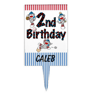 Sock Monkey Baseball 2nd Birthday Cake Topper