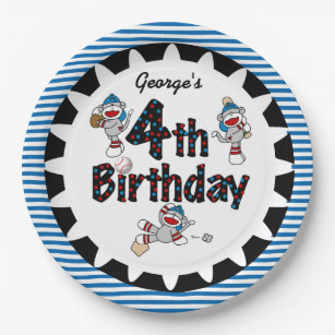 Sock Monkey Baseball 4th Birthday Paper Plates  sc 1 st  Zazzle & Sock Monkey Plates | Zazzle