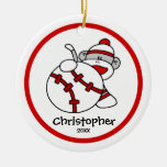 "Sock Monkey Baseball Boy""s Christmas Ornament"