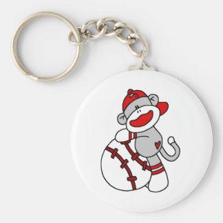 Sock Monkey Baseball Keychain