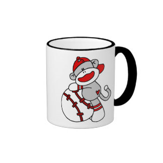Sock Monkey Baseball Ringer Coffee Mug