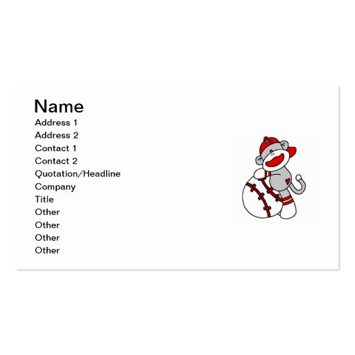 Sock Monkey Baseball T-shirts and Gifts Business Card