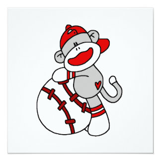 Sock Monkey Baseball T-shirts and Gifts Personalized Announcements