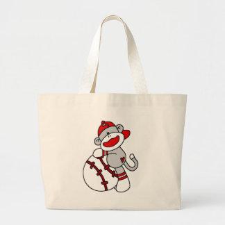 Sock Monkey Baseball T-shirts and Gifts Large Tote Bag