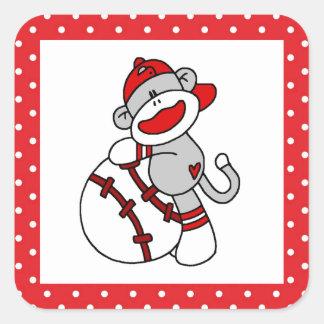 Sock Monkey Baseball T-shirts and Gifts Square Sticker