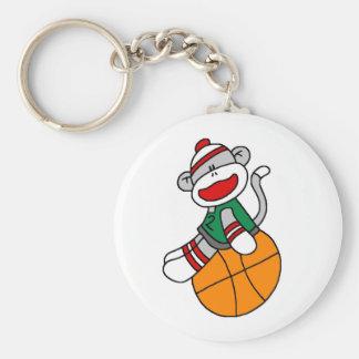 Sock Monkey Basketball Basic Round Button Keychain