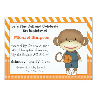 Sock Monkey Basketball Birthday Invitations
