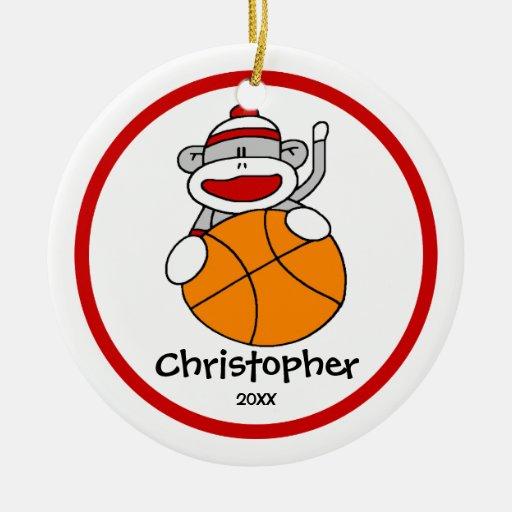 "Sock Monkey Basketball Boy""s Christmas Ornament | Zazzle"